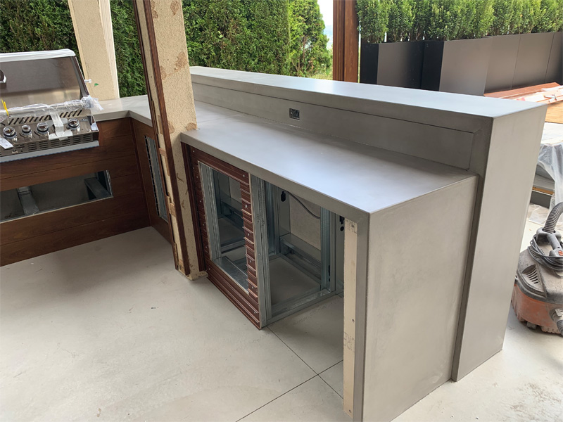 Concrete BBQ Cooking Area - Diamond Finish