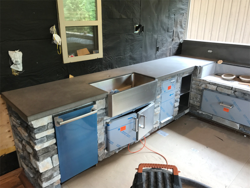 Sink and BBQ Concrete Cutout Countertop