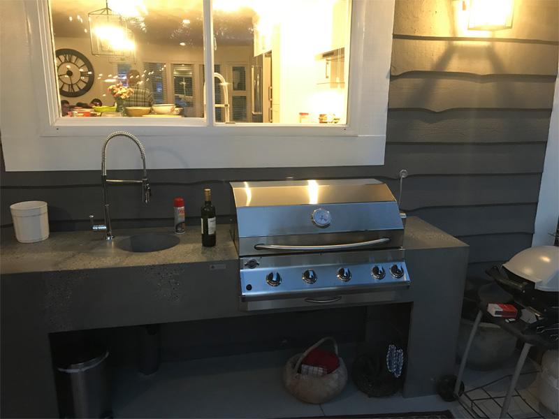 BBQ and Sink Concrete Countertop - Diamond Finish