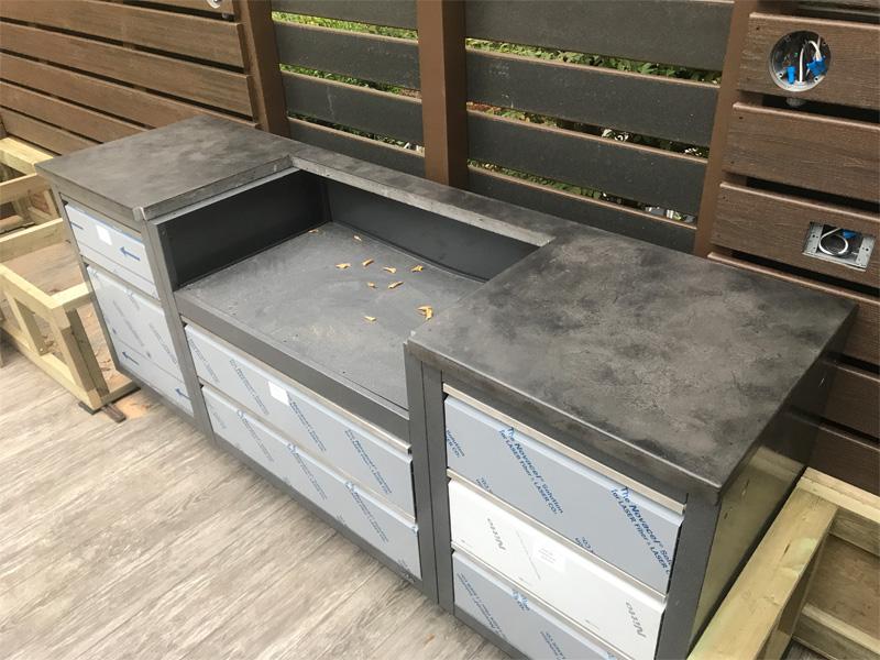 Concrete Countertop BBQ Cutout - Diamond Finish