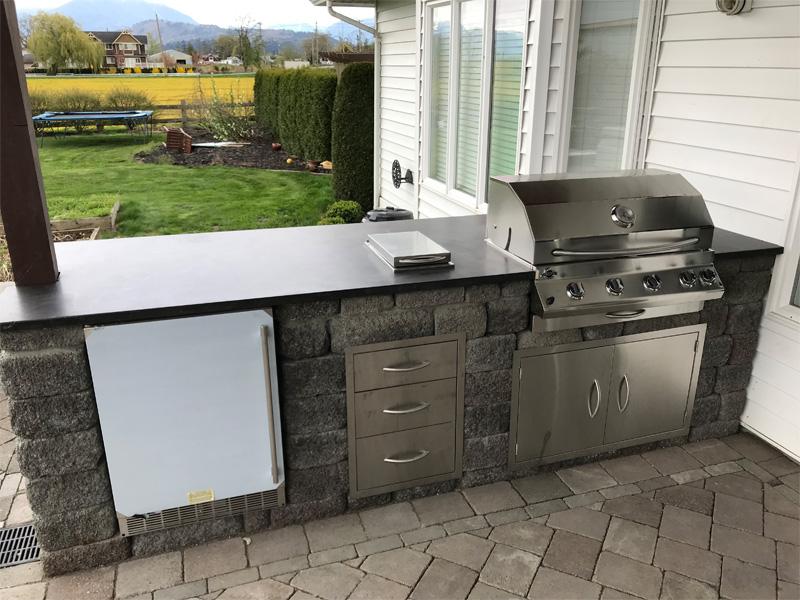 Outdoor BBQ Cooking - Diamond Finish Concrete