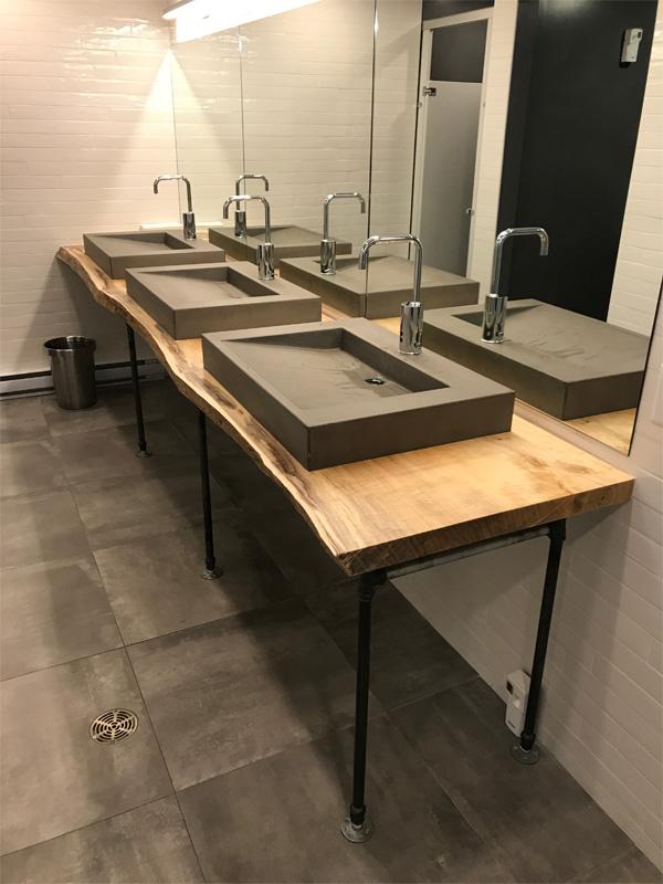 Commercial Bathroom Concrete Sinks - Diamond Finish