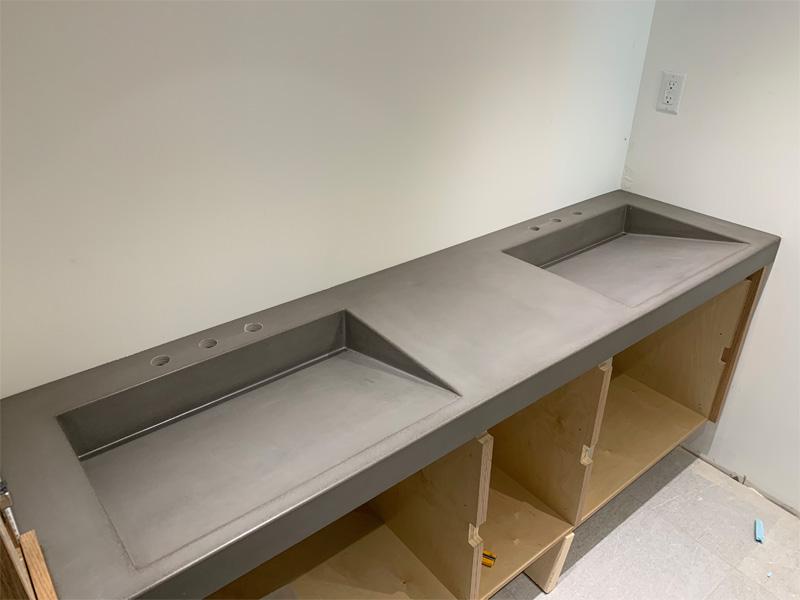 Custom Concrete Dual Slanted Sinks - Diamond Finish
