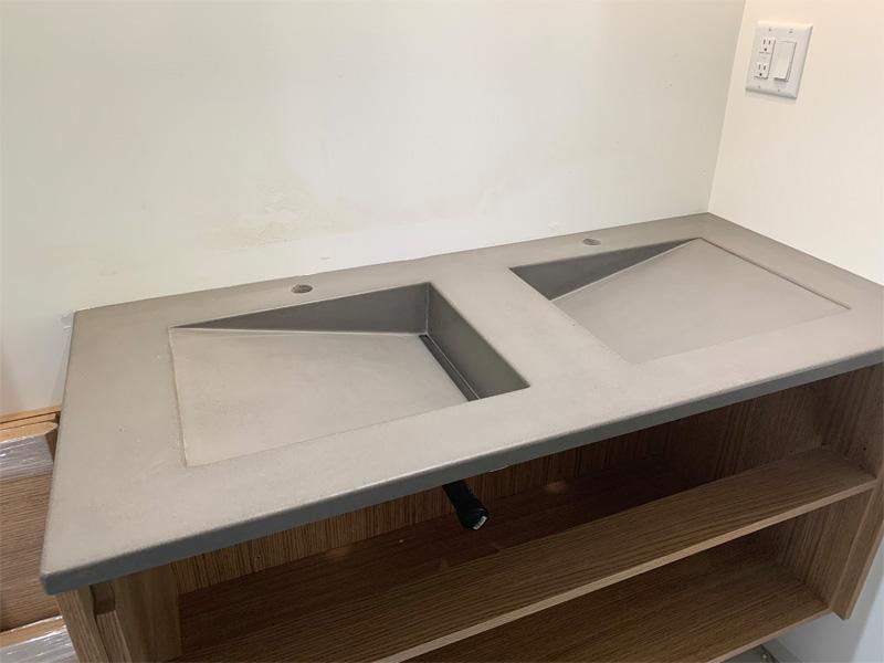 Dual Concrete Angled Sinks - Diamond Finish