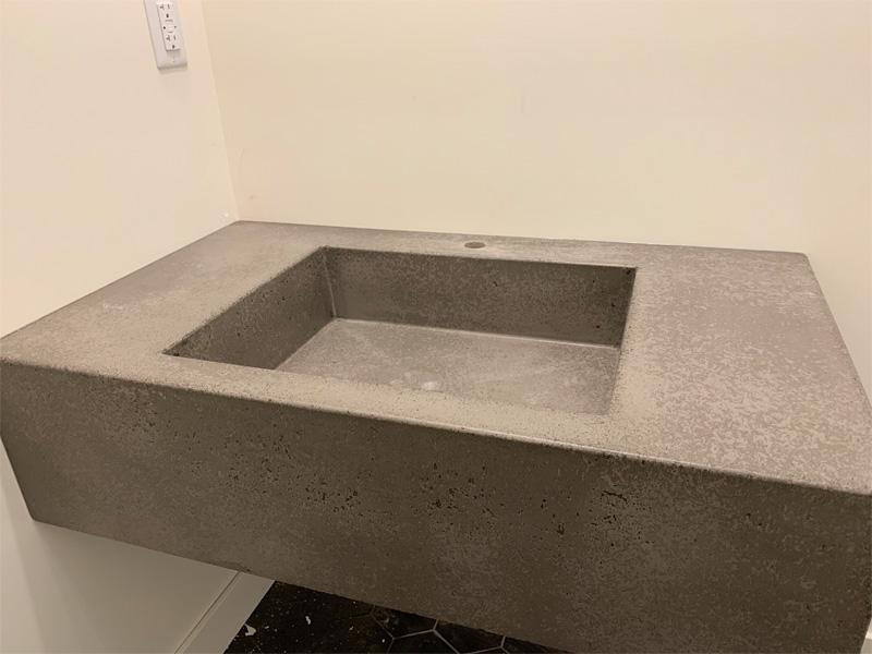 Square Concrete Sink with Counter - Diamond Finish
