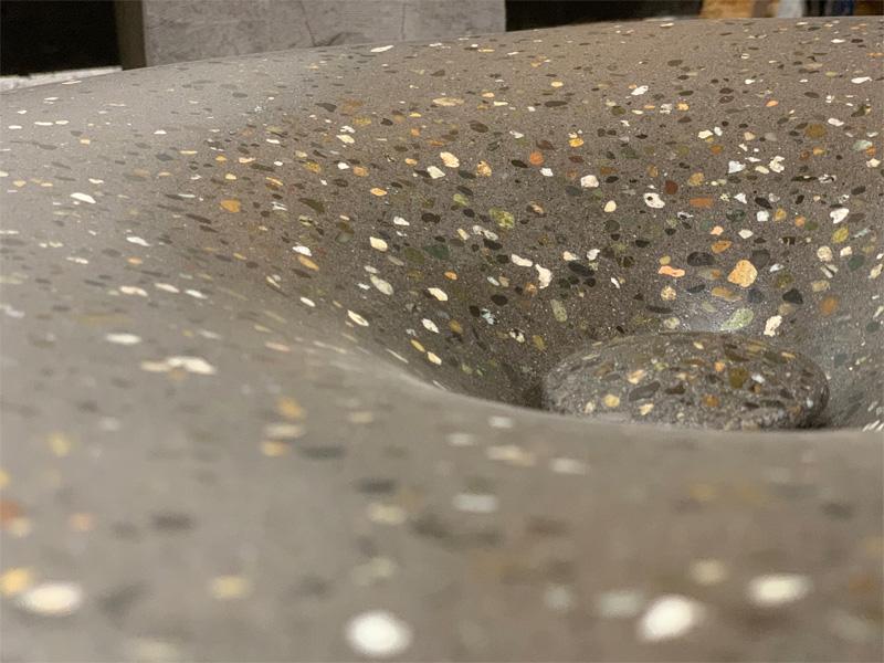 Concrete Custom Sink and Drain - Diamond Finish