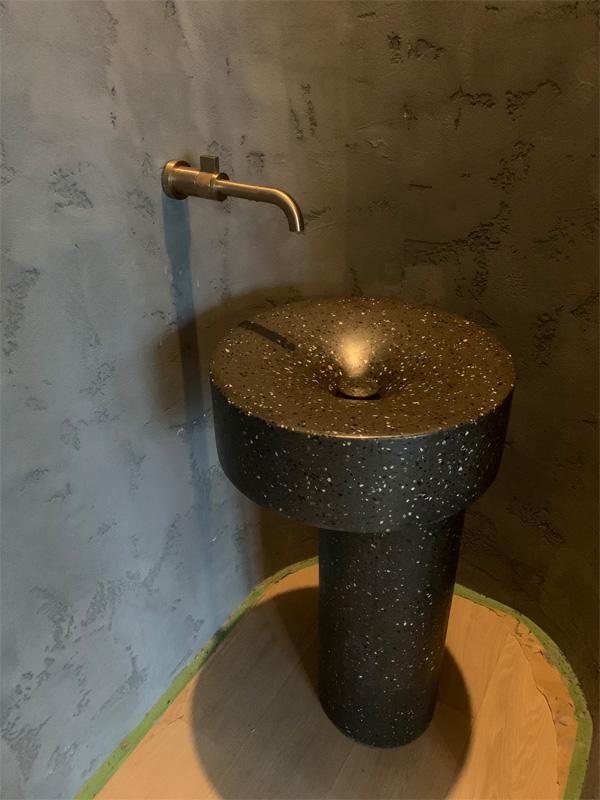 Concrete Pedestal Sink Custom Design - Diamond Finish