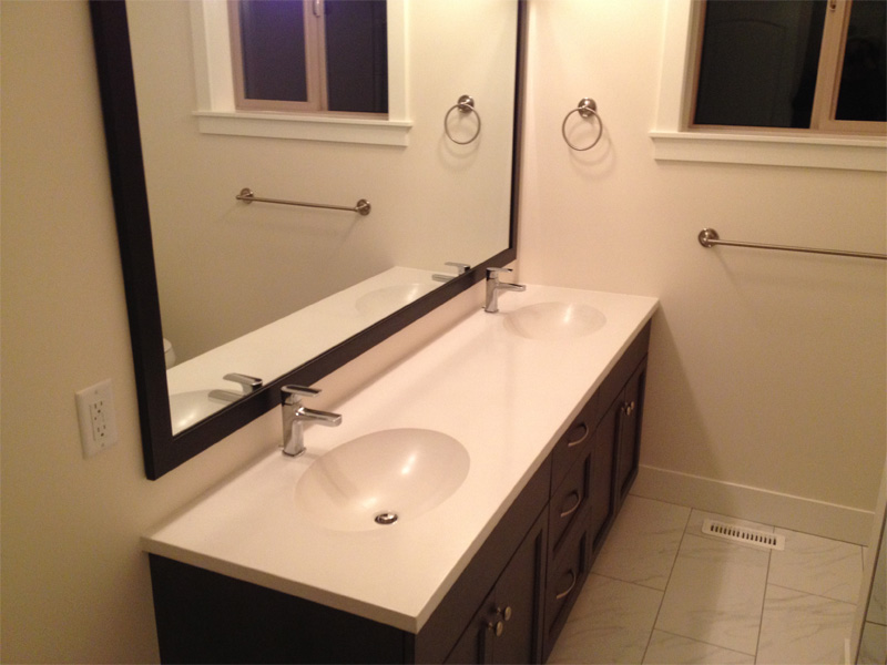 Concrete Double Sink and Counter - Diamond Finish