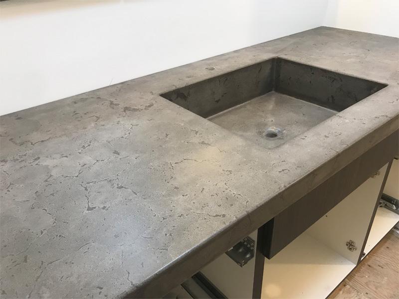 Bathroom Concrete Countertop and Sink - Diamond Finish