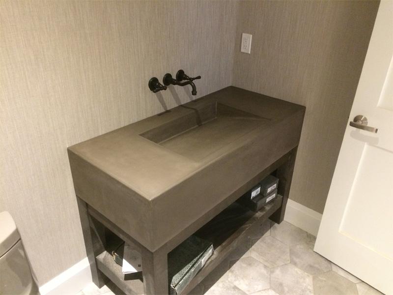 Concrete Bathroom Slanted Sink - Diamond Finish