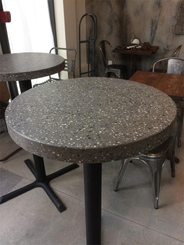Small Round Concrete Pedestal Table - Diamond Finish