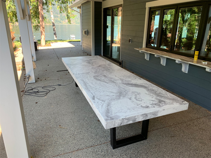 Marble Concrete Table Long - Diamond Finish