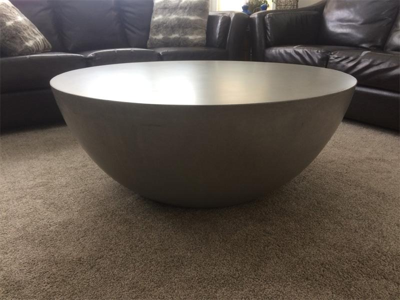 Unique Round Pedestal Coffee Table - Diamond Finish