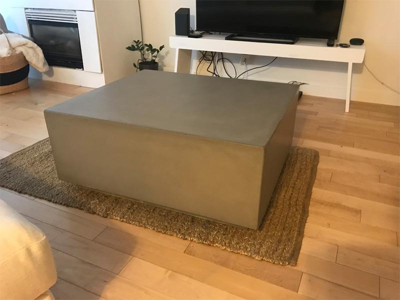 Square Coffee Table Concrete - Diamond Finish