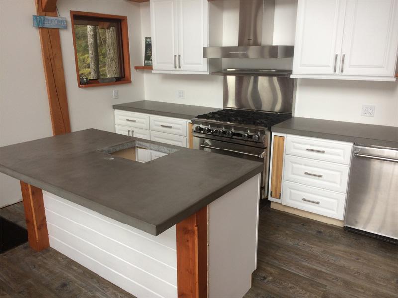 Country Kitchen Concrete Counters - Diamond Finish