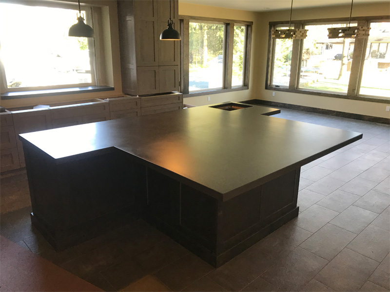 Custom Cut Concrete Kitchen Island - Diamond Finish