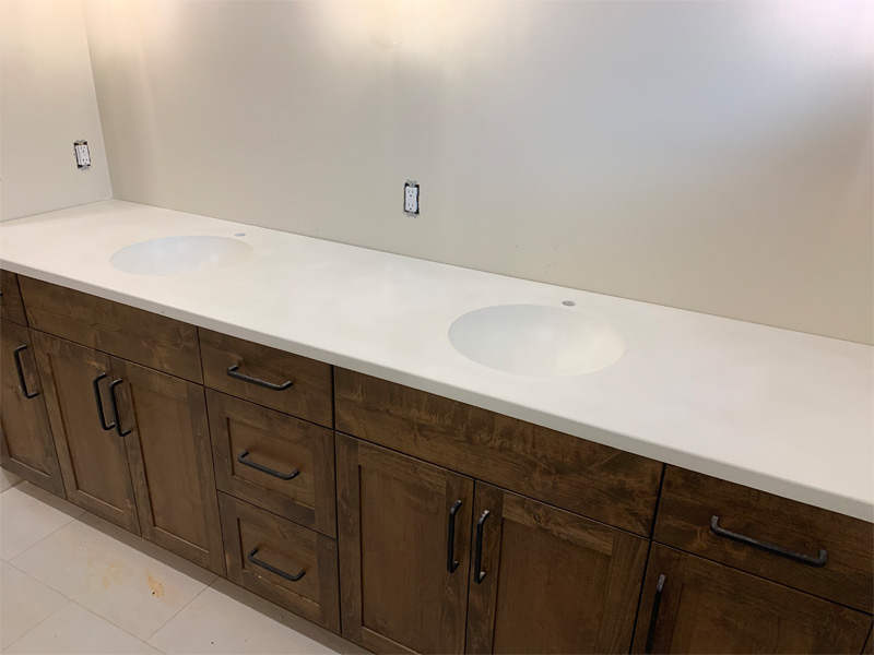 Bathroom Dual Sink Countertop - Diamond Finish