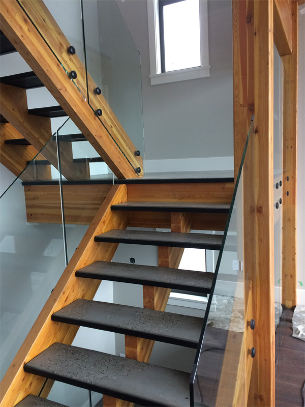 Concrete Steps on Wooden Staircase - Diamond Finish