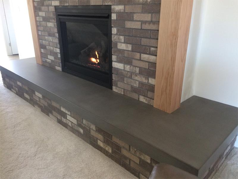 Concrete Fireplace Surround Ledge - Diamond Finish