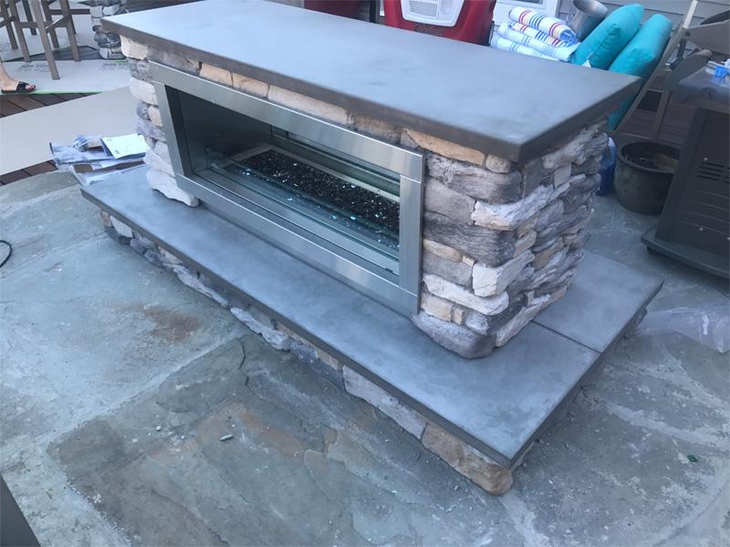 Concrete & Stone Fireplace Surround - Diamond Finish