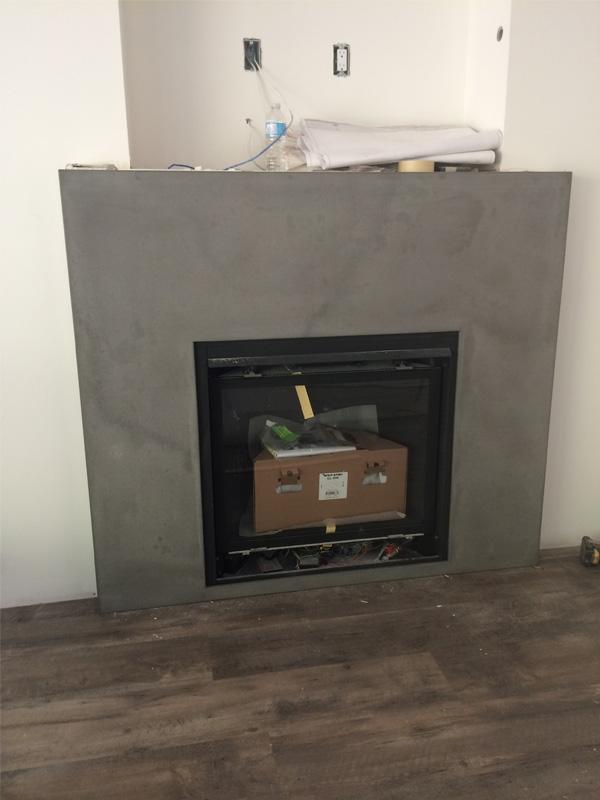 Large Fireplace Surround - Diamond Finish Concrete Countertops