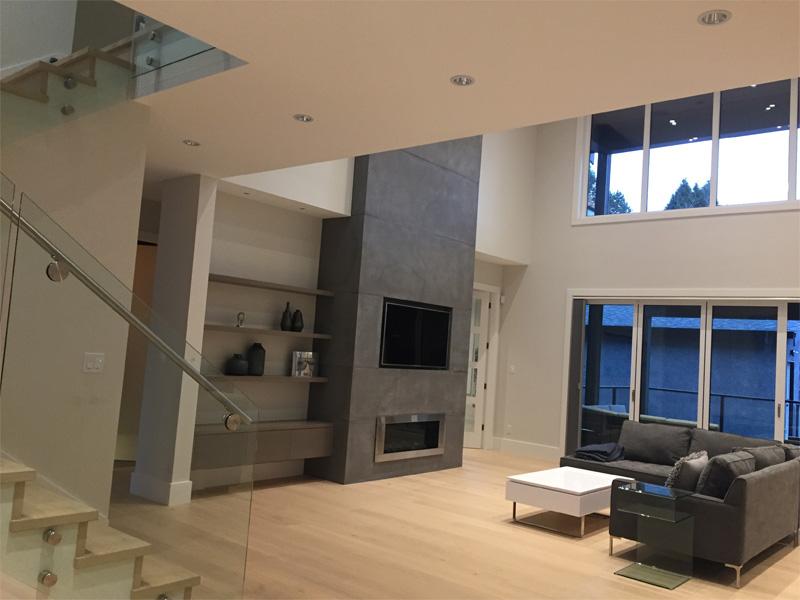 Tall Concrete Fireplace - Diamond Finish Concrete Countertops