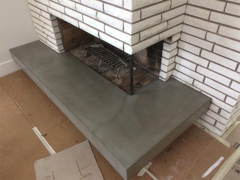 Concrete Fireplace Ledge- Diamond Finish Concrete Countertops