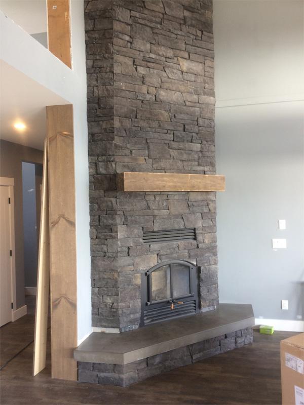 Concrete Fireplace Ledge and Surround - Diamond Finish Concrete Countertops