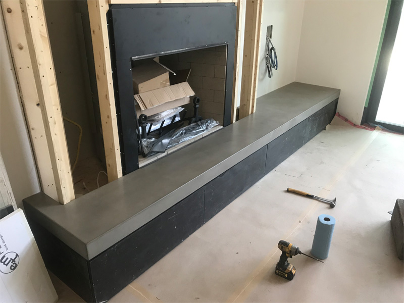 Concrete Fireplace Surround & Ledge - Diamond Finish Concrete Countertops