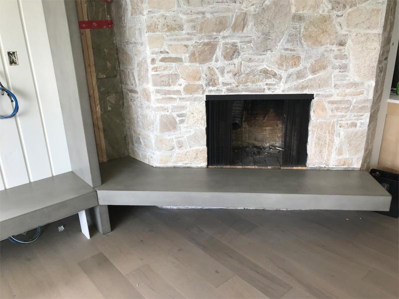 Concrete Fireplace Ledge - Diamond Finish Concrete Countertops